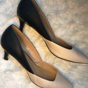 Calvin Klein kitten heels size 11 nude and black